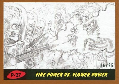 Mars Attacks The Revenge Bronze [25] Pencil Art Base Card P-27 Fire Power vs. F