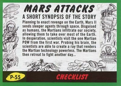 Mars Attacks The Revenge Green Pencil Art Base Card P-55 Checklist
