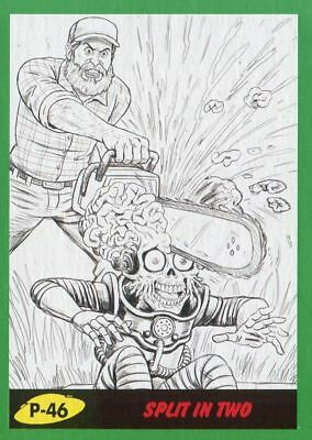 Mars Attacks The Revenge Green Pencil Art Base Card P-46 Split in Two