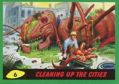 Mars Attacks The Revenge Green Base Card #6 Cleaning up the Cities