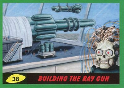Mars Attacks The Revenge Green Base Card #38 Building the Ray Gun