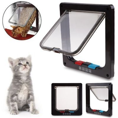 4 Way Lockable Pet Flap Door For Large Medium Small Size Dog Cat White/Coffee