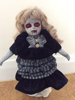 Horror Scary Creepy Zombie Small Porcelain Child Girl Doll on a Stand