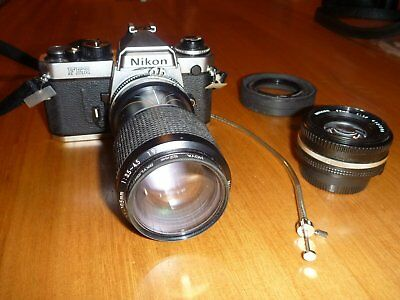 Nikon FE2 Film Camera with Lenses and Accessories