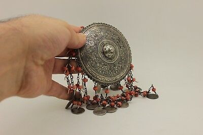 Antique Original Silver Niello Amazing Traditional Coral Decorated Bridal Head