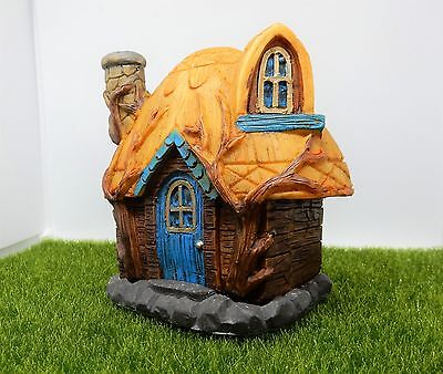 Fairy House Incense Burner Thatched Cottage Incense Cone Smoking Chimney Blue