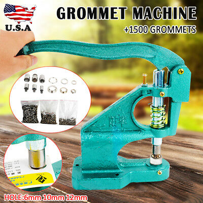 Grommet Eyelet Hole Punch Machine Hand Press 3 Dies With 1500pcs Silver Grommets