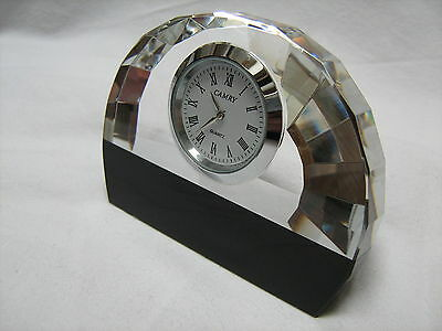 Quality - Cut Glass And Marble - Clock - Art Deco Style- New Battery