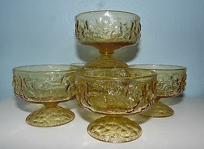 5 Vintage Anchor Hocking Glass Milano Amber Footed Sherbets Dessert Dishes NICE!