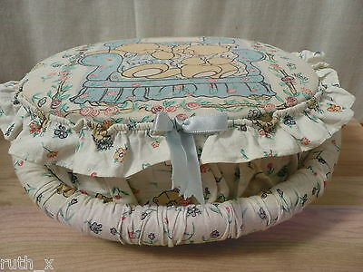 Vintage FOREVER FRIENDS 1992 SEWING BASKET Padded Fabric Box Kit Hallmark Bear