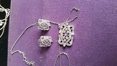 silver marcasite necklace and earrings set