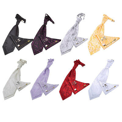 DQT Woven Floral Classic Mens Cravat Handkerchief Cufflinks Wedding Set