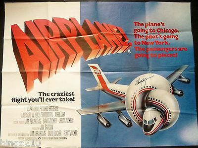Airplane Original 1980 Quad Poster  * Signed By Robert Hayes *  Comedy