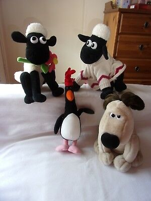 Wallace And Gromit Plush Soft Toy Bundle Shaun,Gromit and Feathers X4