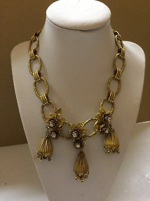 RARE and SPECTACULAR  brass crystal MIRIAM HASKELL tassel necklace