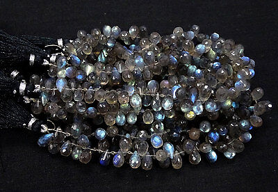 Full 8 Inch Strand Fine Quality LABRADORITE Drilled Faceted Tear DROP Briolette.