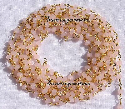 20 Feet Rose Quartz Chalcedony Gold Plated Bead Wire Wrapped Beaded Rosary Chain