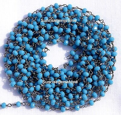 20 Feet Turquoise Chalcedony Black Plated Beads Wire Wrapped Beaded Rosary Chain