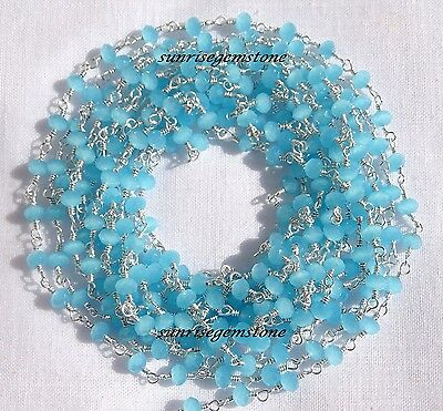 20 Feet Sea Blue Chalcedony Faceted Bead Silver Plated Wire Wrapped Rosary Chain