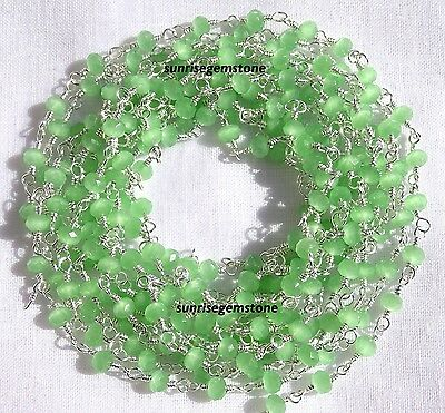 20 Feet Green Chalcedony Silver Plated Bead Rosary Beaded Vermeil Chain For Sale