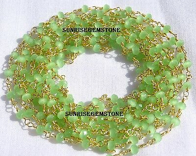 20 Feet Green Chalcedony Gold Plated Beads Rosary Beaded Vermeil Chain For Sale.