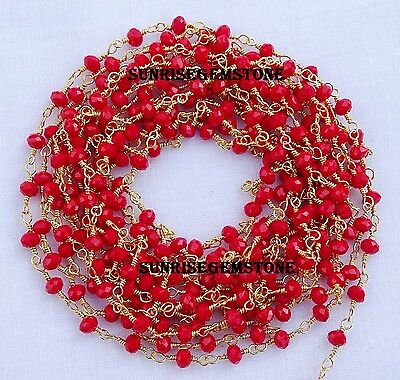 20 Feet Red Chalcedony Gold Plated Beads Wire Wrapped Beaded Rosary Chain Sale.