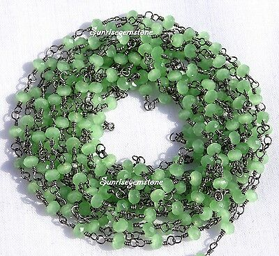 20 Feet Green Chalcedony Faceted Rondelle Beads Black Plated Rosary Vermil Chain
