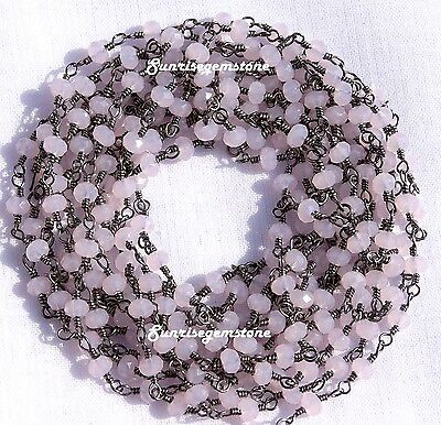 20 Feet Rose Quartz Chalcedony Faceted Rondelle Beads Black Plated Rosary Chain.
