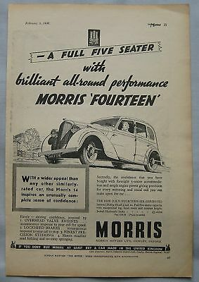 1938 Morris Fourteen Original advert