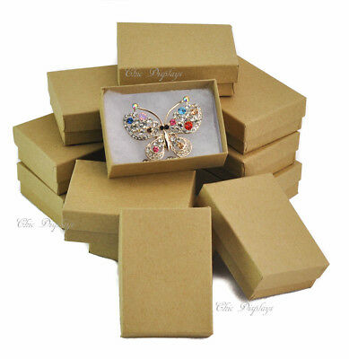 Lot Of 20 Kraft Cotton Filled Boxes Jewelry Box Pendant Gift Boxes Display Boxes