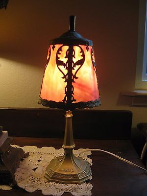 Beautiful Antique Arts and Crafts Table Lamp Gilded Base & Pink Slag Glass Shade