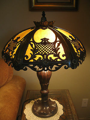 Victorian Art Nouveau Vintage Antique 6 Convex Caramel Slag Glass Shade Lamp