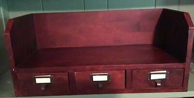 Mahogany Wall Shelf 3 Drawers With Label Holders Heavy Duty Hangers On Back