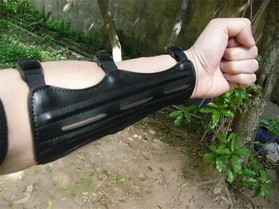 Real Leather Shooting Archery Arm Guard Protection Safe/St Guard Black