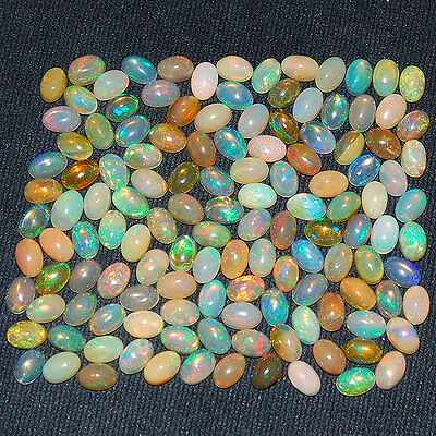 130 Pcs ~6mm/4mm Untreated AAA Natural Ethiopian Opal Lot ~Strong Color Play