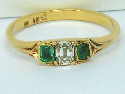 18ct Gold 18k Gold Late Georgian Early Victorian Emerald & Diamond ring Q