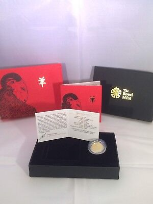 2015 Royal Mint Lunar Year Of The Sheep Ten Pound £10 1/10Th Gold  Bu Coin