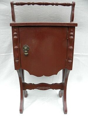 Vintage Oak Copper-Lined Smoking Stand/Humidor Painted Burgundy or Brick Red