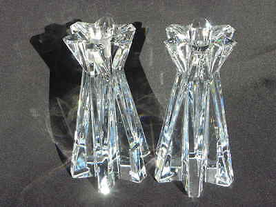 Pair of Lenox Crystal Star-Shaped Candle Holders - Heavy
