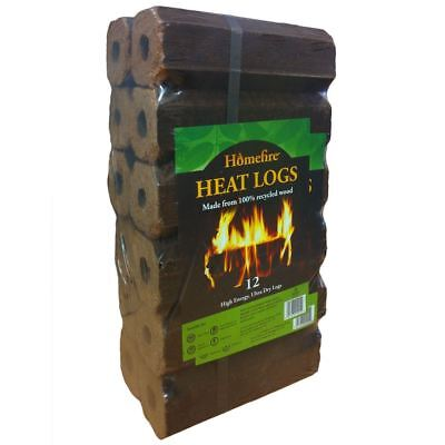 Homefire Eco Friendly Heat Logs Pack of 12  for Stoves Fires Multi Fuel Burners