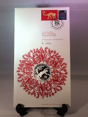2016 Lunar Year Of The Monkey Silver Proof Coin And Stamp Set £2 Pnc Fdc