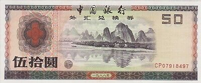 China Foreign Exchange Certificate 1988 50 Yuan Condition EF/XF Extremely Fine