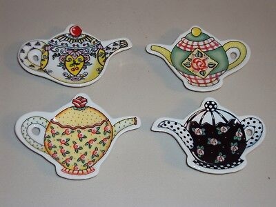 4 Colorful Design Mary Engelbreit ME Ink Teapot Shape Tea Bag Holders