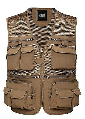 ZSHOW Men's Fly Fishing Vest Multi Pockets Mesh Jacket Working Outdoor Photograp