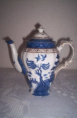 vintage teapot blue white  coffee pot booths royal old willow pattern 99p no res