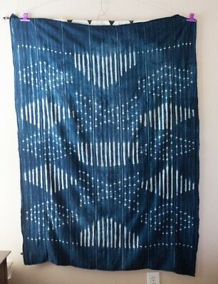 Boho Indigo African Mud Cloth Throw Blanket large 62x45