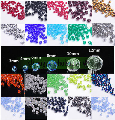 Quality Czech Glass Faceted Round Ball Spacer Loose Beads 3 4 6 8 10 12MM Making