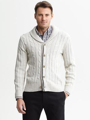 Men Banana Republic Cable Knit Shawl Collar Cardigan Sweater Button