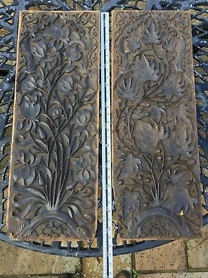 Pair of Vintage (Antique?) Carved Oak Panels.  UK delivery included.