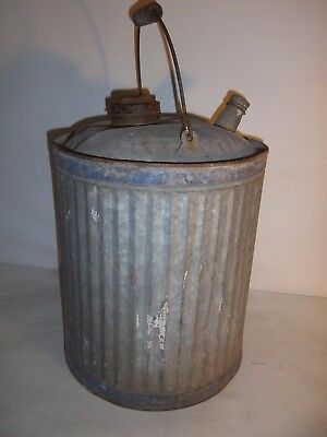 Vintage Galvanized 5 Gallon Gas Can With Wooden Handle